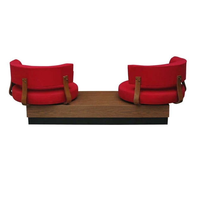 Textile 1970s Mid-Century Modern Red Swivel Lounge Chairs Sofa on Platform Base For Sale - Image 7 of 8