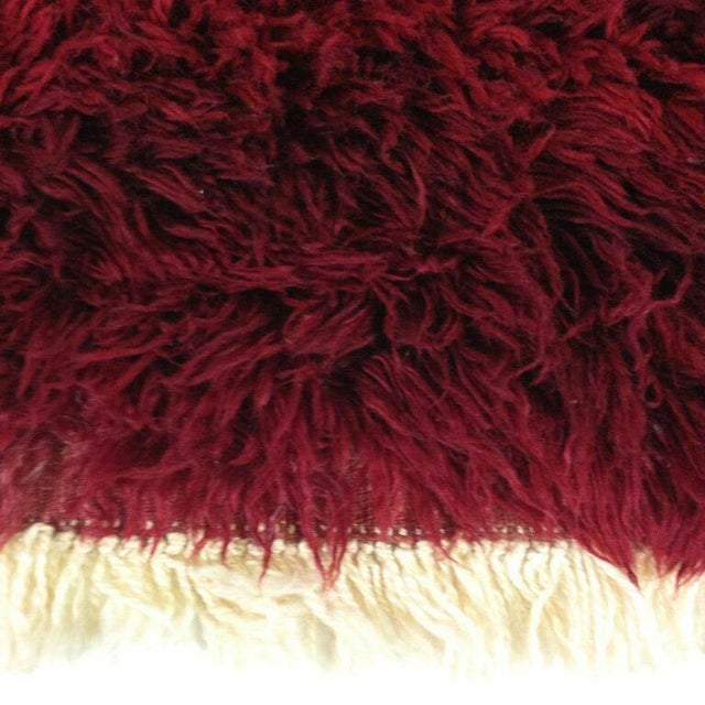 Vintage Maroon Turkish Tulu Shag - 5'5'' x 7'8'' - Image 4 of 4