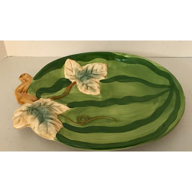 Boho Chic Vintage Boho Chic Style Ceramic Watermelon Platter For Sale - Image 3 of 6