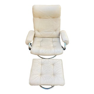 Vintage Leather and Chrome Recliner With Ottoman For Sale