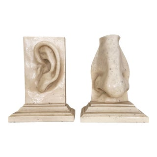 Pop Art Faux Marble Resin Ear and Nose Bookends - a Pair For Sale