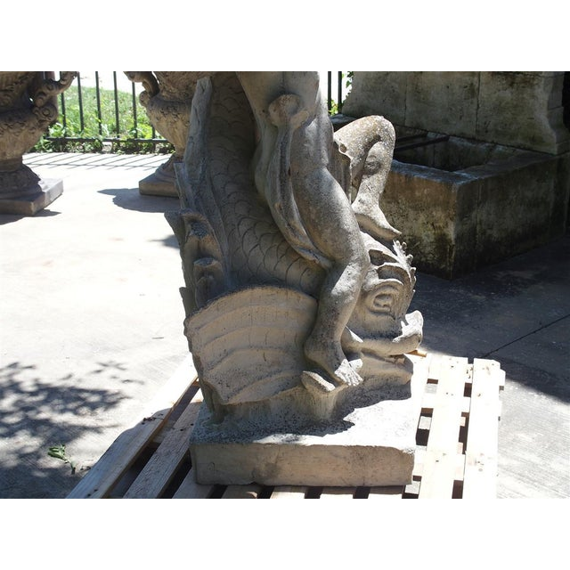 Art Nouveau Cast Stone Putto and Dolphin Fountain Element Statue, France For Sale - Image 3 of 13