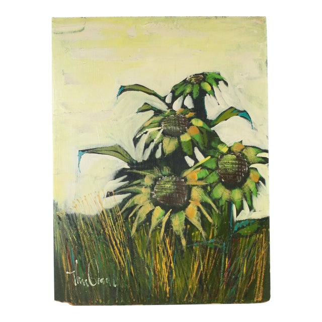 Mid-Century Original Sunflowers Painting on Board For Sale