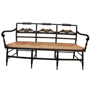 Primitive Hitchcock Black Bench With Rush Rattan Seat