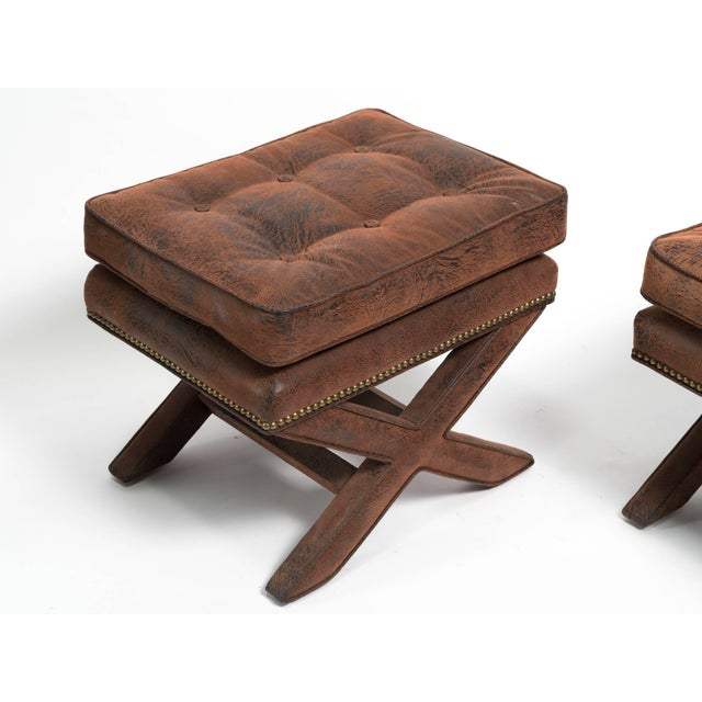 Billy Baldwin Billy Baldwin Style X-Benches - a Pair For Sale - Image 4 of 10