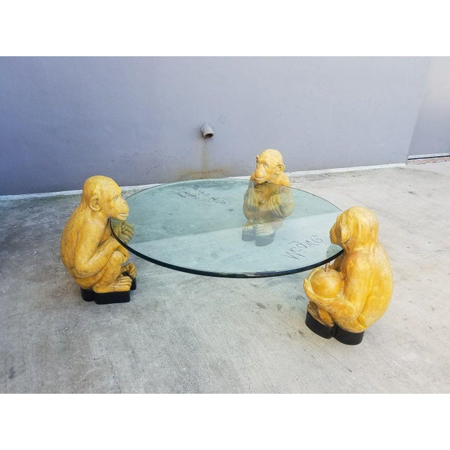 1970s Vintage Italian Monkey Glass Coffee Table For Sale In Miami - Image 6 of 11