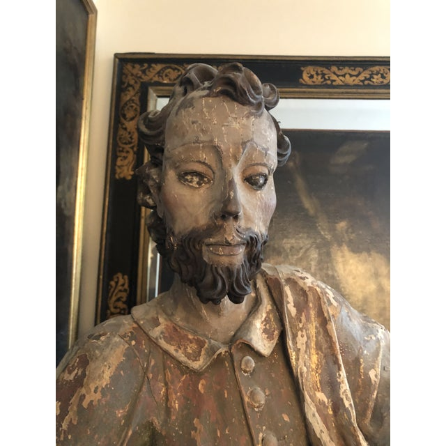 Wood 17th Century Continental Carved Wood Gesso Polychrome Apostle Sculpture For Sale - Image 7 of 13