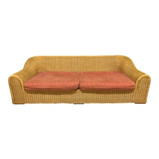Michael Taylor Style Sculptural Wicker Sofa For Sale