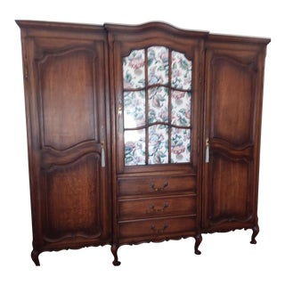 Antique Tiger Quarter Sawn Oak Country French Provincial 3 Door Armoire for Wardrobe or Electronics