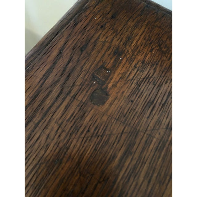 19th Century Traditional William & Mary Revival English Oak Table with Drawer For Sale - Image 9 of 12