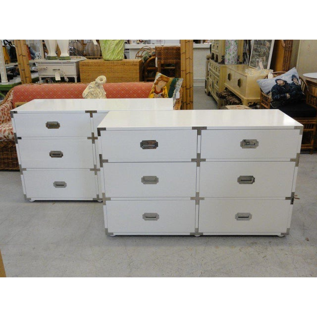 White Lacquered Campaign Chests - A Pair For Sale - Image 10 of 10