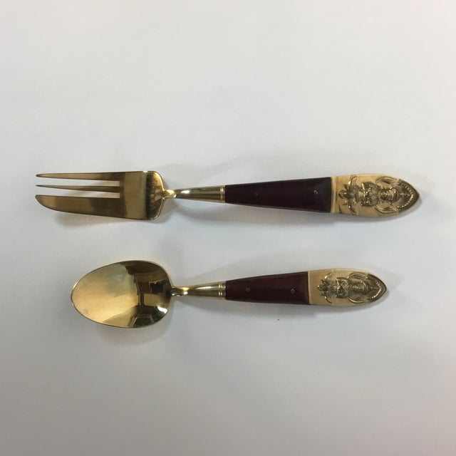 Mid-Century Brass & Rosewood Fish Forks and Spoons - 20 Pieces For Sale - Image 5 of 11