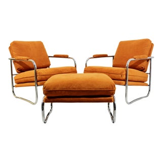 1970s Mid-Century Modern Milo Baughman Tubular Chrome Lounge Chairs and Ottoman - 3 Pieces For Sale