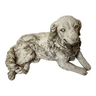 English Cast Stone Dog Statue For Sale