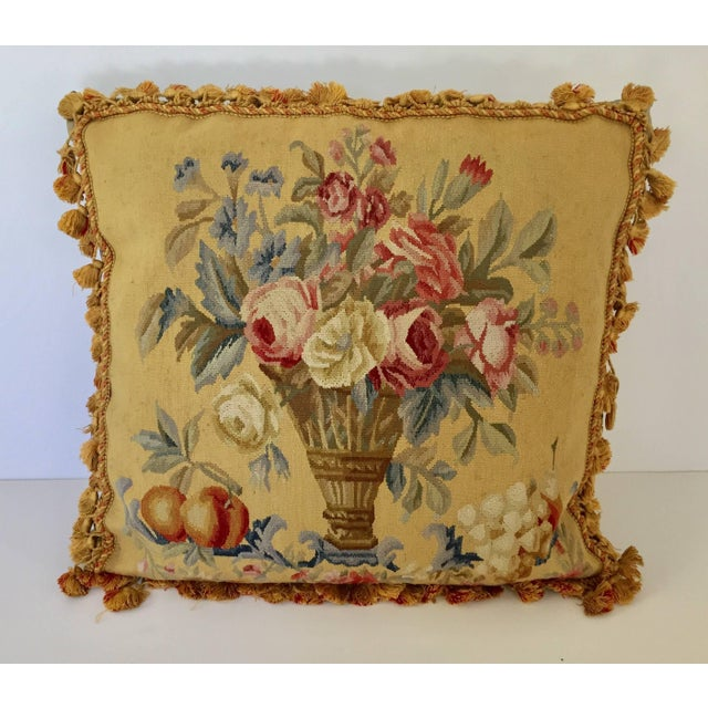Aubusson Style Large Tapestry Decorative Pillow For Sale - Image 13 of 13