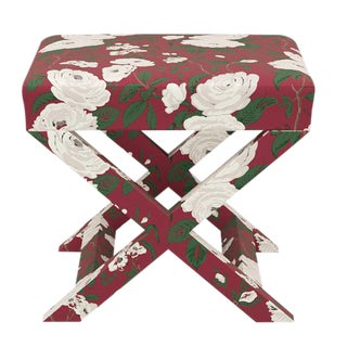 X Bench in Cranberry Chintz For Sale