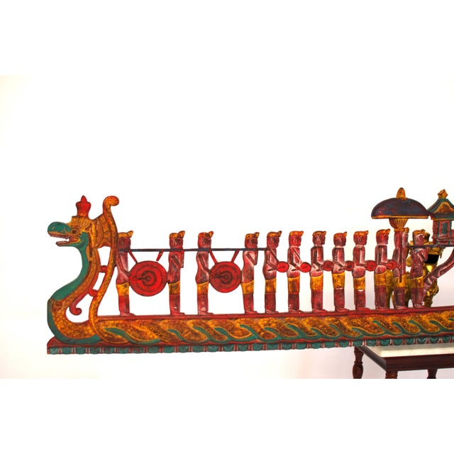 Asian Antique Asian Carved Polychrome Serpent Panel For Sale - Image 3 of 6