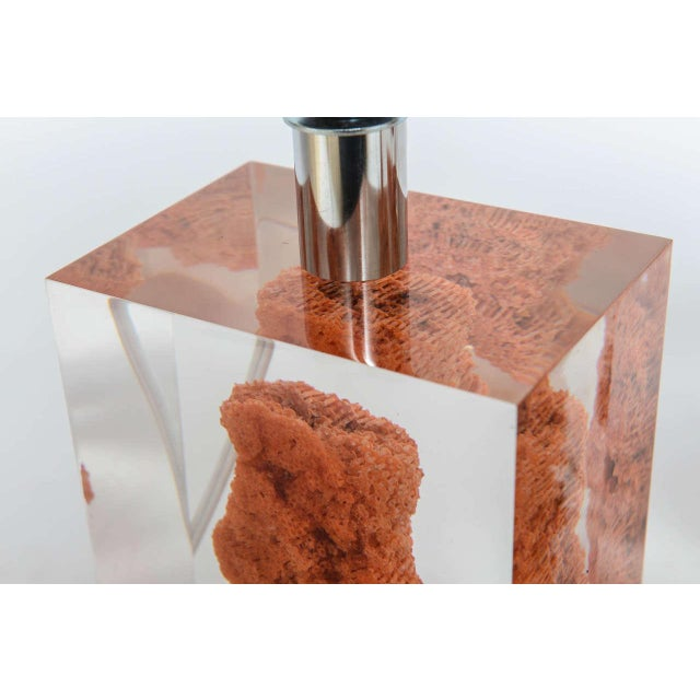 Natural Red Coral in Lucite Block Table Lamps - Sold Indivdually For Sale - Image 10 of 11