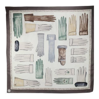 Echo Museum Collection Silk Scarf With Trompe L'Oeil Gloves For Sale