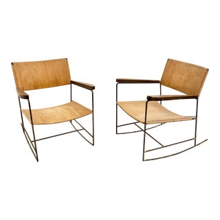 Arden Riddle Iron Rocking Chairs - a Pair For Sale