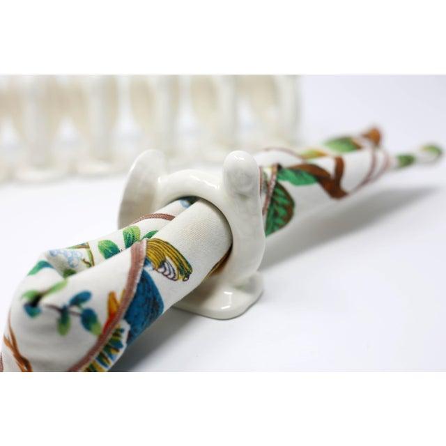 White Vintage Handmade Ceramic Turkey Napkin Rings - Set of 8 Thanksgiving Tableware For Sale - Image 8 of 13