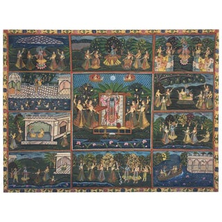 Large Colorful Pichhavai Silk Asian Painting With Krishna and Female Gopis For Sale