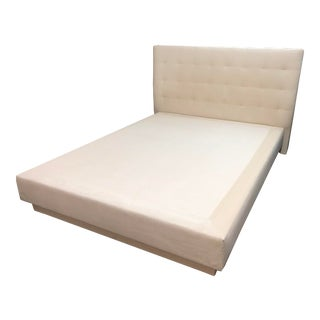 Custom Tufted Upholstered Platform Bed, a Queen For Sale