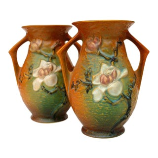 Antique 1930's Depression Era Roseville Magnolia Pattern Art Pottery Vases - a Pair For Sale