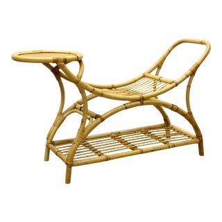 1960s French Rattan Bench For Sale
