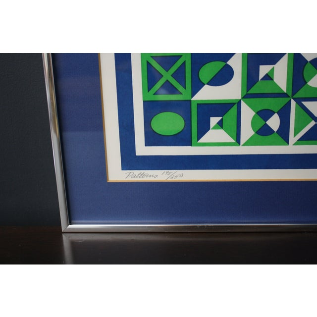 1970s Op Art Blue and Green Serigraphs - A Pair - Image 7 of 11
