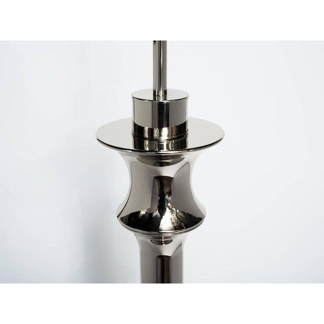 Metal Pair of Dramatic Hollywood Regency Sculptural Floor Lamps in Nickel For Sale - Image 7 of 11