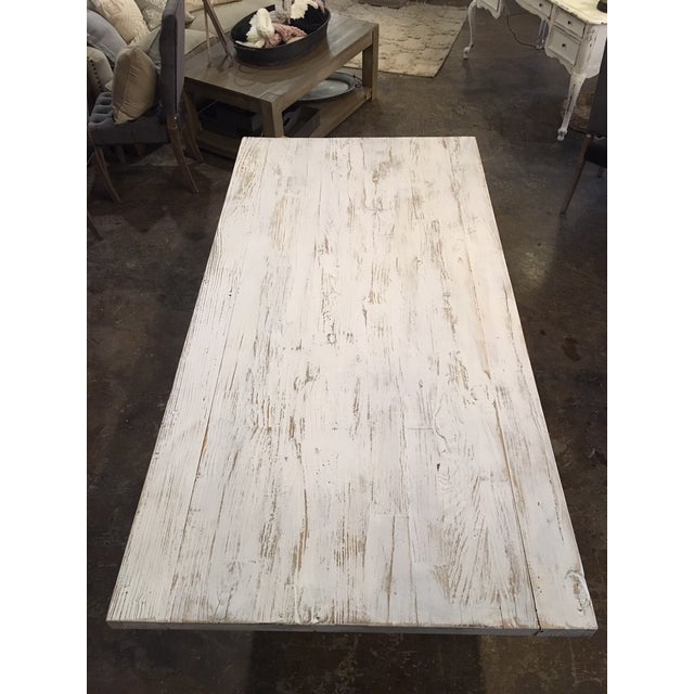 Shabby Chic White Distressed Farmhouse Dining Table For Sale - Image 9 of 10