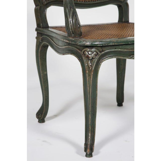 Classic French Green Armchair For Sale - Image 5 of 7