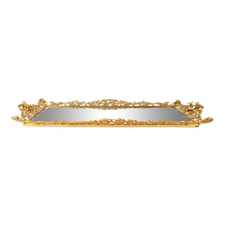 Gilded Solid Brass Vanity Mirrored Tray