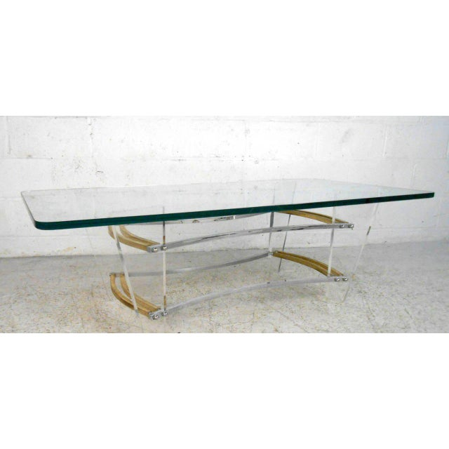 Vintage Lucite and Brass Coffee Table by Charles Hollis Jones For Sale In New York - Image 6 of 7