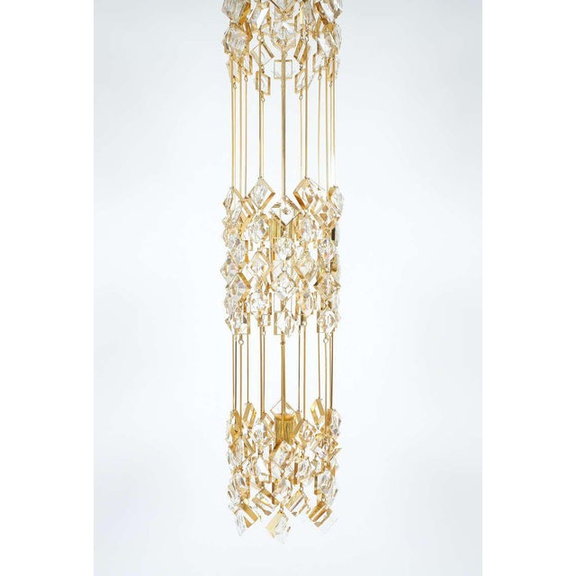 Gold Golden Brass and Crystal Column Chandelier Lamp by Palwa, 1960 For Sale - Image 8 of 9