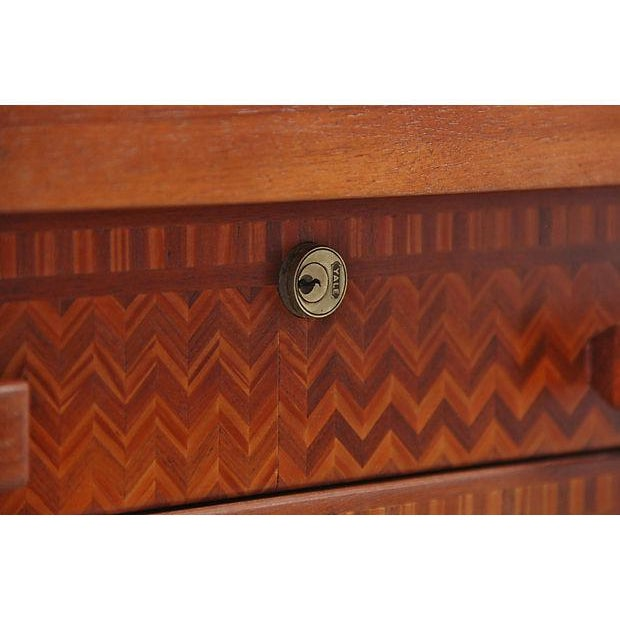 Vintage Parquetry Kneehole Desk - Image 5 of 7