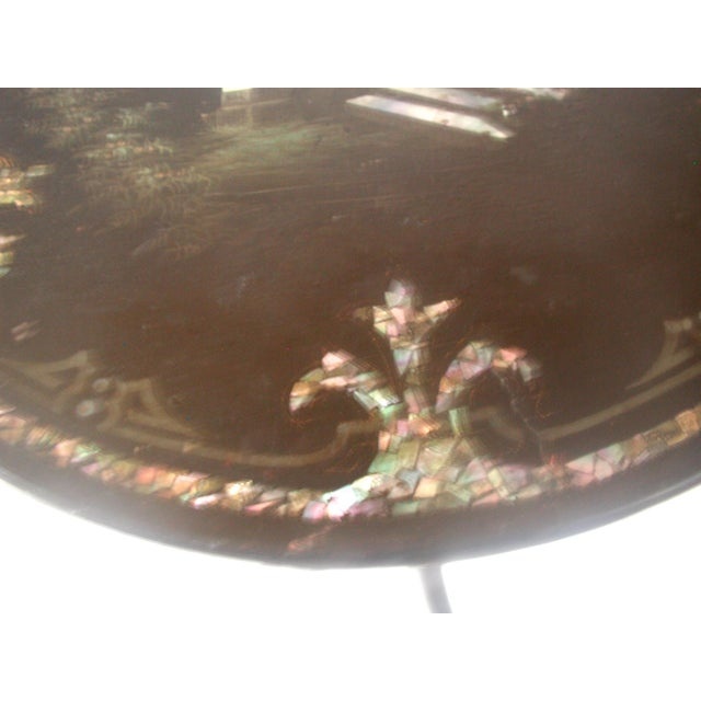 French Napoleon III Papier Mache Tilt Table Inlaid C.1850 For Sale - Image 6 of 10