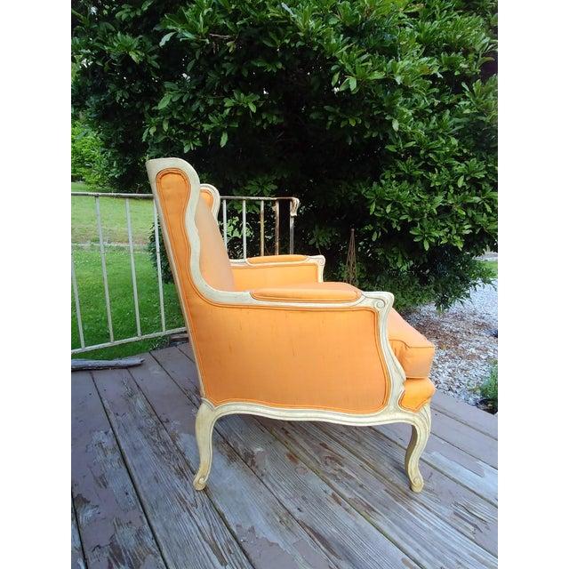 Henredon Henredon White Frame Orange Upholstery Louis XV Down Fill Bergere Chair For Sale - Image 4 of 13