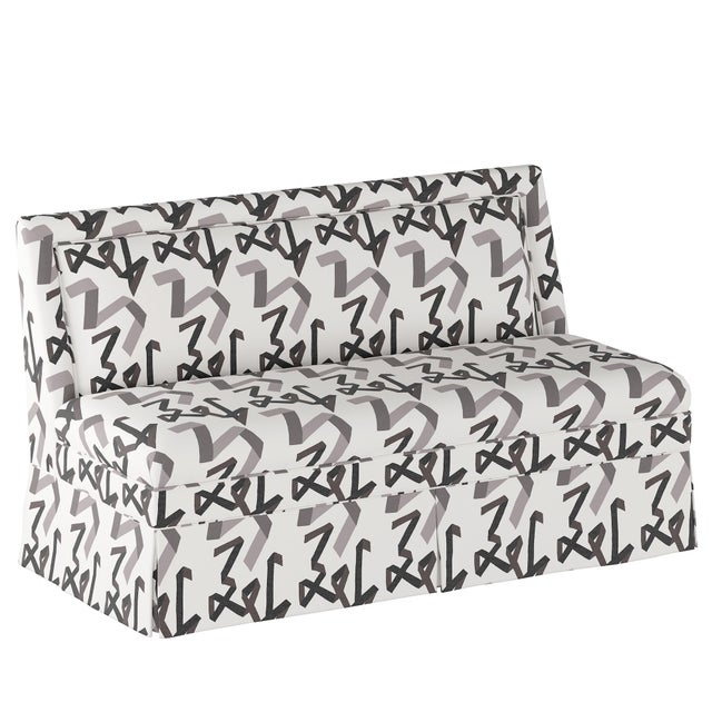 Black Skirted Settee in Black Ribbon by Angela Chrusciaki Blehm for Chairish For Sale - Image 8 of 8