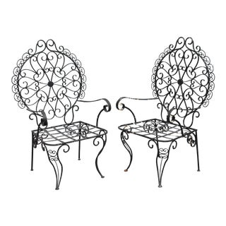 Mid-Century Patinated Wrought Iron Garden Chairs - A Pair For Sale