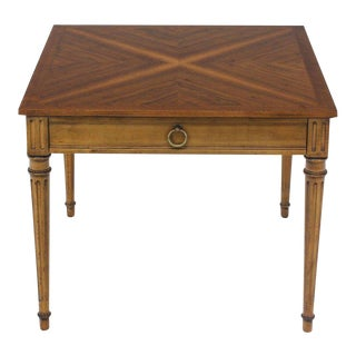 Baker Square Satinwood Side Lamp Table For Sale
