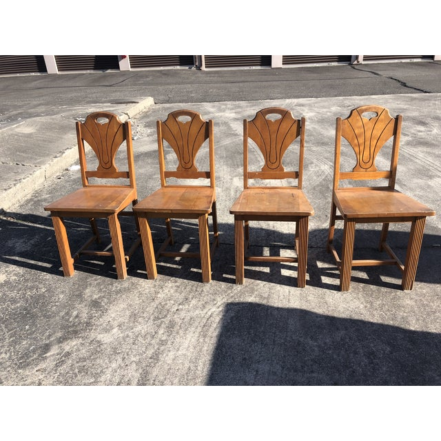 Art Deco Style Wooden Side Dining Chairs -Set of 4 For Sale - Image 13 of 13
