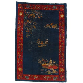 Early 20th Century Antique Chinese Nickle Hand-Knotted Rug - 5′ × 7′8″ For Sale