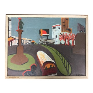 """Antique """"Columbus Circle at Night"""" Oil Painting by Blanche Small For Sale"""