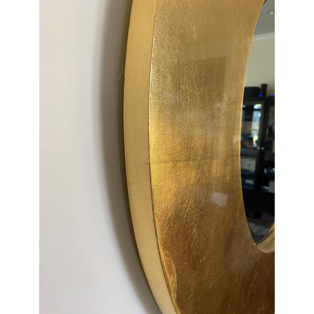 """Make a statement with this Patterson, Flynn & Martin gold leaf designer mirror with a substantial 7"""" W x 1.25"""" thick..."""