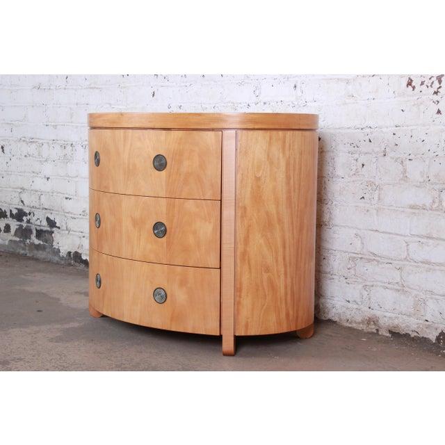 Baker Furniture Company Charles Pfister for Baker Art Deco Primavera Three-Drawer Oval Commode Bachelor Chest For Sale - Image 4 of 13