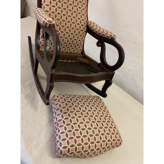 Late 19th Century Antique Empire Rocking Chair With Romo Antara Upholstery For Sale - Image 5 of 7