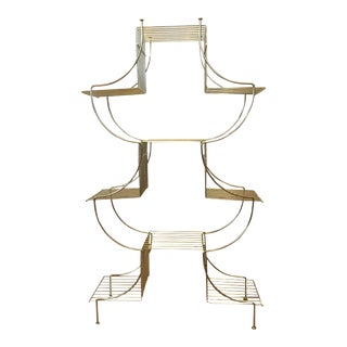 Mid Century Brass Etagere Curio Stand Bookshelf Pagoda Display Stand Plant Stand For Sale