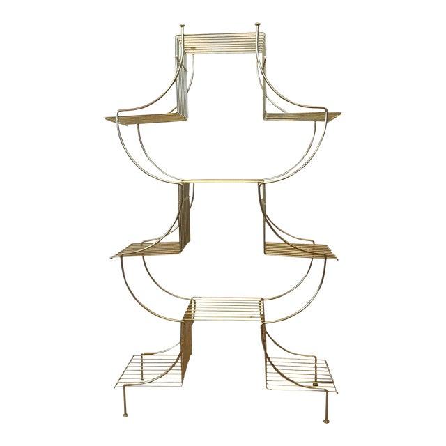 Mid Century Brass Etagere Curio Stand Bookshelf Pagoda Display Plant
